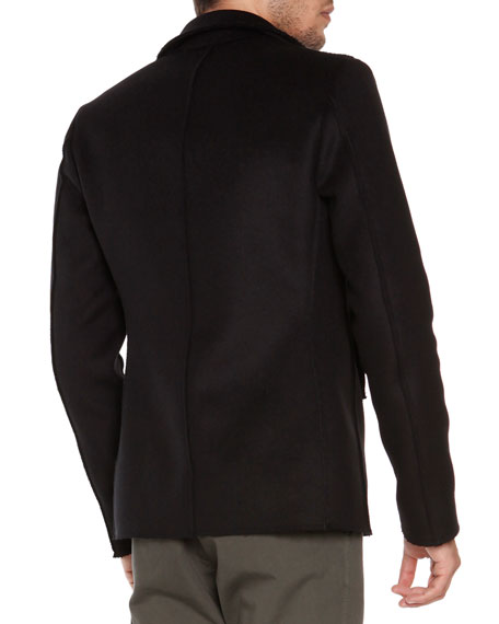 Wool-Blend Pea Coat, Black