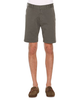 Flat-Front Twill Shorts, Army