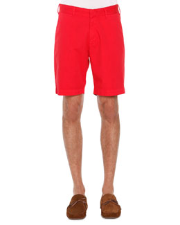 Flat-Front Twill Shorts, Red