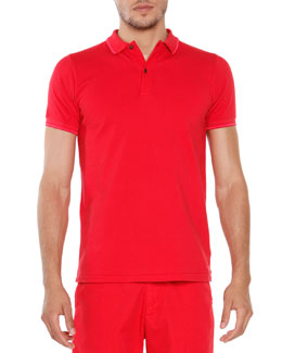 Short-Sleeve Tipped Polo, Red