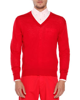 Wool V-Neck Sweater, Red