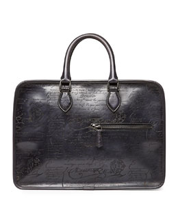 Scritto Leather Briefcase, Black