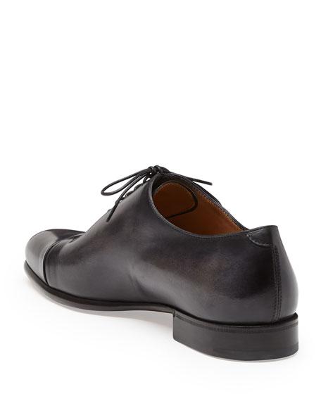 Gaspard Slash-Toe Leather Shoe, Black