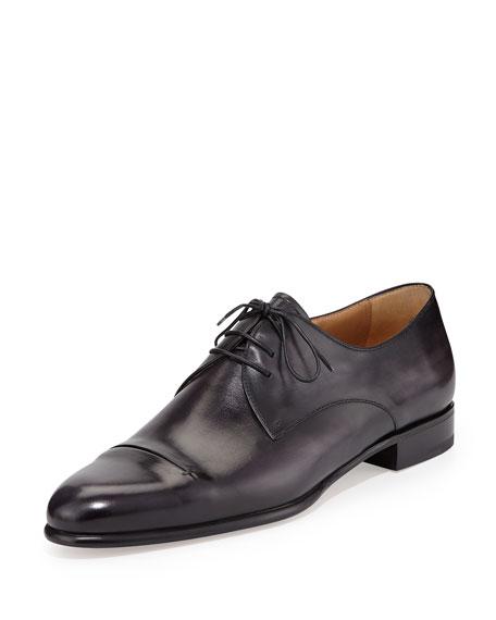 Berluti Gaspard Slash-Toe Leather Shoe, Black