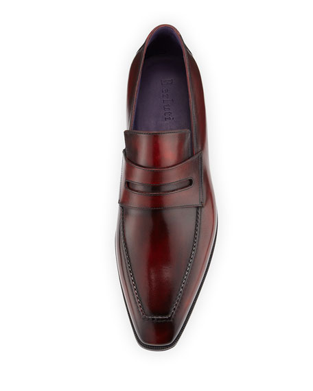 Andy Burnished Leather Loafer, Red