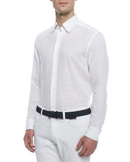 Solid Woven Linen Sport Shirt, White