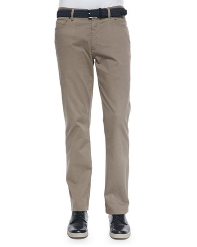 Five-Pocket Stretch-Cotton Pants, Khaki