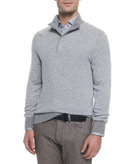 Cashmere-Blend Quarter-Zip Pullover, Dark Gray