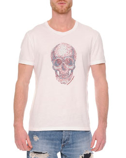 Embossed Skull Graphic T-Shirt, White