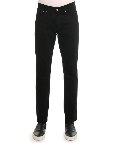 Slim Denim Pants with Leather Back-Pocket, Black