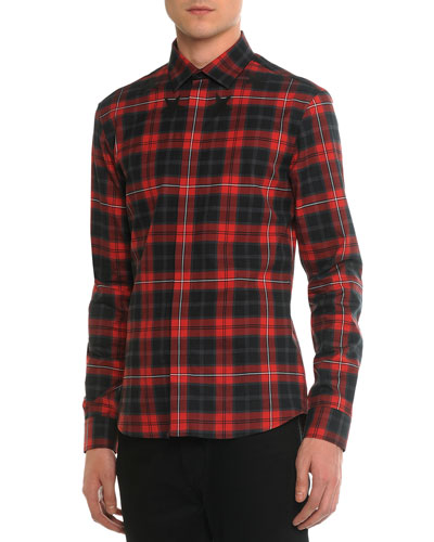Plaid Woven Shirt with Star-Detail, Red