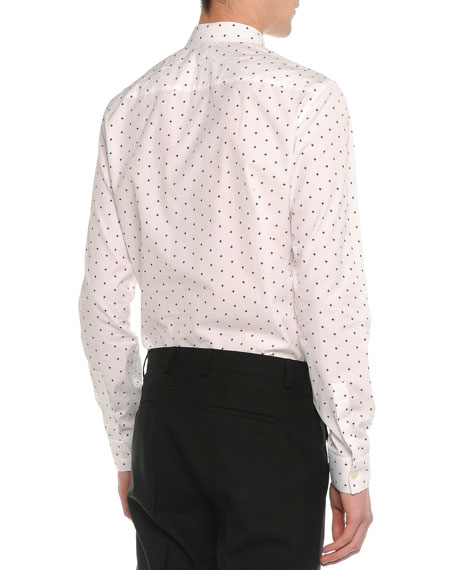 Cross-Printed Woven Shirt, White