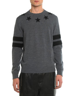 Crew-Neck Star Sweatshirt, Gray