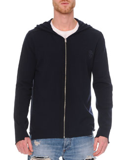 Raw-Edge Zip Hoodie Sweater