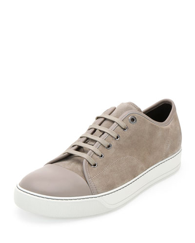 Matte Cap-Toe Low-Top Sneaker, Beige