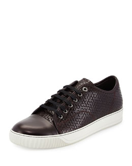 Honeycomb-Print Cap-Toe Sneaker, Bordeaux