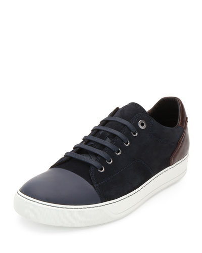 Low-Top Sneaker with Contrast Heel, Blue