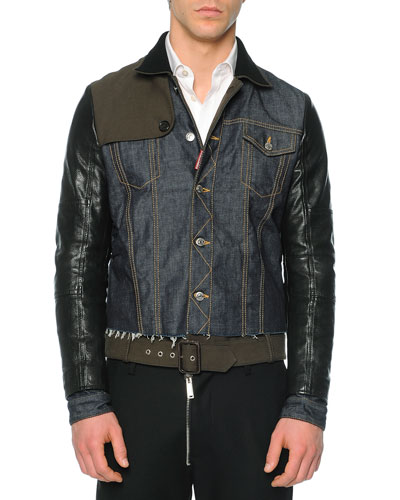 Mixed Media Denim/Leather Jacket, Blue