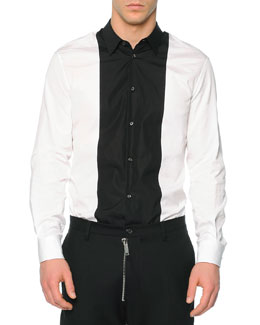Button-Down Shirt with Contrast Bib, White