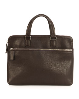 Single Gusset Leather Briefcase, Brown