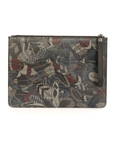 Feather-Print Travel Document Holder, Multi