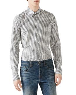 White/Grey Horse Bit Print Long-Sleeve Shirt