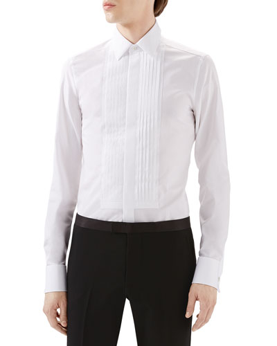 White Tux Pleated Bib Shirt w/ French Cuffs