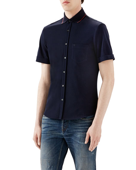 Navy Tipped Short-Sleeve Pique Full Button Down