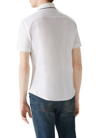 White Tipped Short-Sleeve Pique Full Button Down
