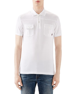 White Short-Sleeve Pique Military Polo w/ Chest Pockets