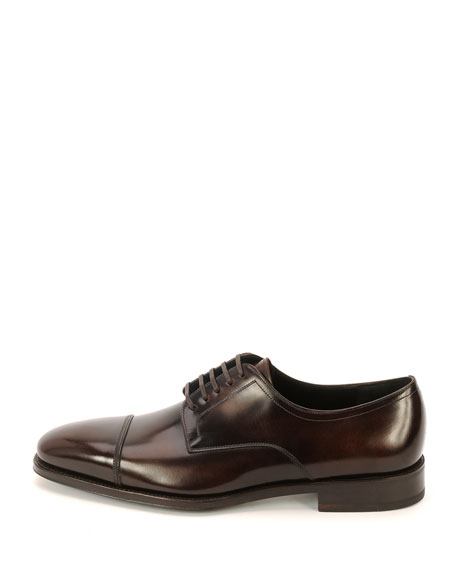 Cap-Toe Lace-Up Oxford, Brown