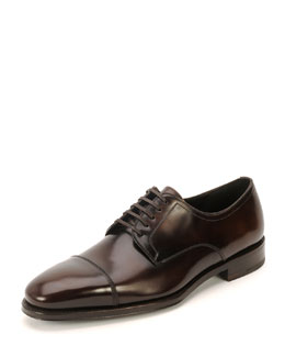 Cap-Toe Lace-Up Oxford Shoe, Brown