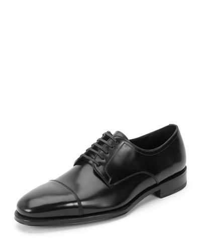 Lace-Up Cap-Toe Oxford, Black