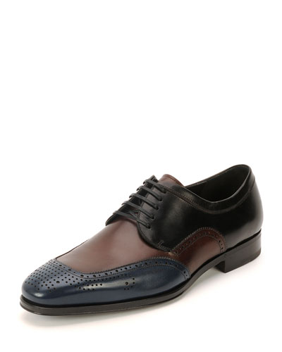 Murano Perforated Oxford Shoe, Blue/Burgundy/Black