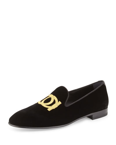 Gancini Velvet Slip-On Loafer, Black