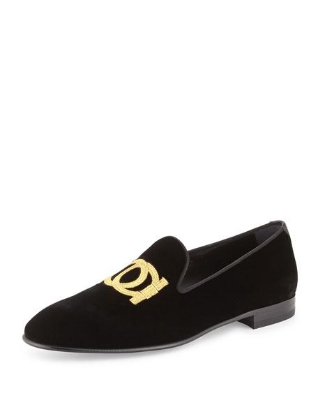 Gancini Velvet Slip-On Loafer, Black