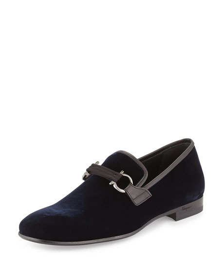 Velvet Gancini Loafer, Navy