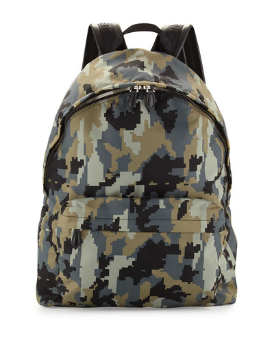 Digital Camo-Print Nylon Backpack, Green