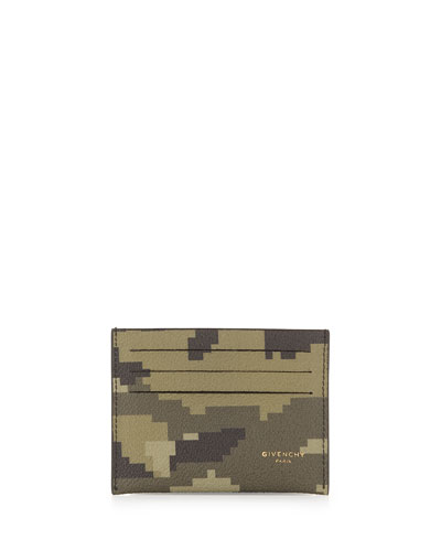 Camo-Print Card Case, Green