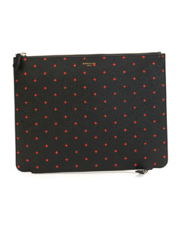 Double-Zip Cross-Pattern Pouch, Black/Red