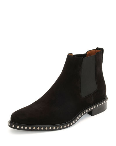 Studded Suede Chelsea Boot, Black