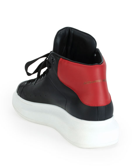 Leather High-Top Sneaker with Red Backing, Black