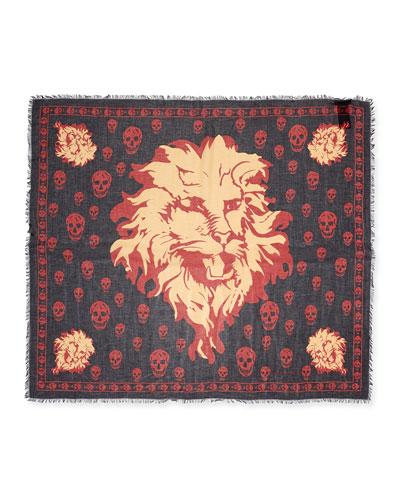 Lion & Skull-Print Modal/Silk Scarf, Black/Red