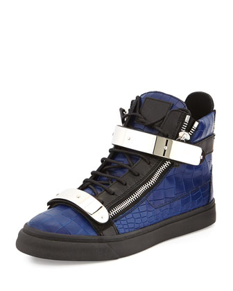 Giuseppe Zanotti Men's Croc-Embossed High-Top Sneaker, Blue/Black