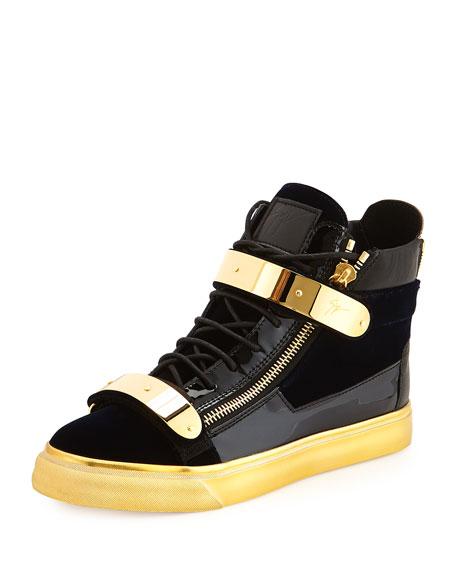 Men's Velvet High-Top Sneaker, Navy/Gold