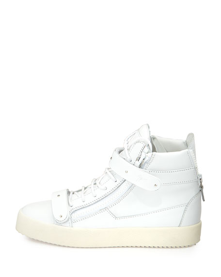 Men's Matte Leather High-Top Sneakers, White