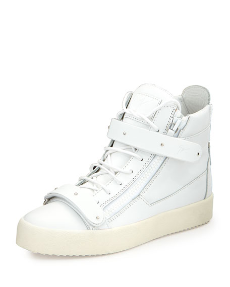 Giuseppe Zanotti Men's Matte Leather High-Top Sneakers, White