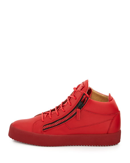 Men's Matte Leather Mid-Top Sneaker, Red