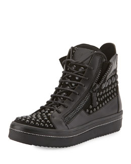 Men's Beaded Leather High-Top Sneaker, Black