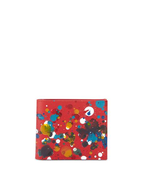 red paint splash maison margiela paint splatter bi fold wallet red
